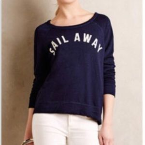 """""""Sail Away"""" embroidered navy crew neck sweater!"""